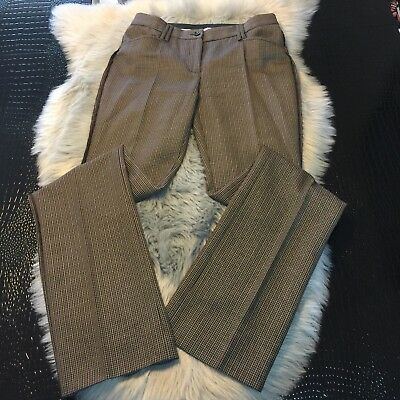 DOLCE & GABBANA 100% Virgin Wool Plaid Check Dress Pants Browns Unique Italy