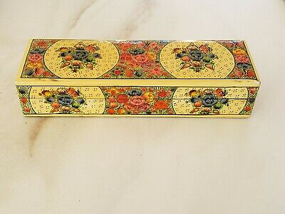 Nice Near Antique Vintage Paper Mache Chinese Floral Flower Trinket Dresser Box