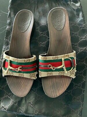Gucci Horseshoe Wooden Slide Size 38.5 Authentic
