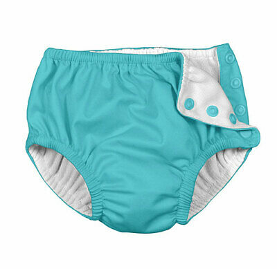 Charlie Banana Reusable Easy Snaps Swim Diaper - Blue - Medium - New