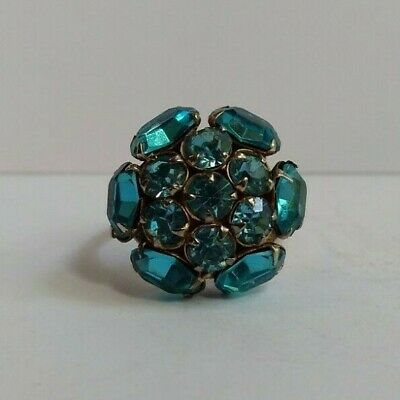 Vintage Sterlingsilber Zacken Set Facettiert Blau Glas Strass Ring