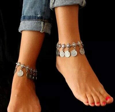 Bellydance Costume Jewellery, Silver Boho Coin Charm Anklet, Tribal Belly Dance