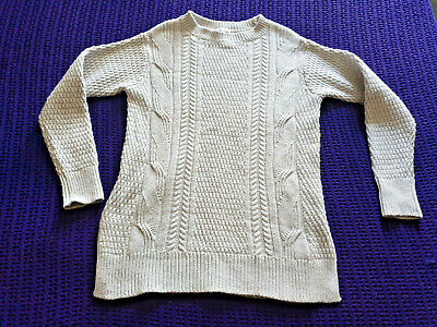 Gap cream wool blend jumper size S fit 8-10 crew neck cable knit VGC work casual