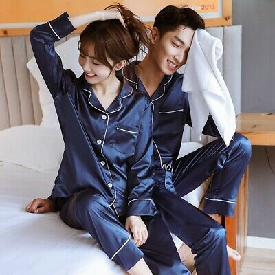 Luxury Satin Silk Pajamas Sets Couple Sleepwear Family Pijama Lover Nightwear PJ