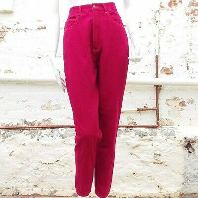 Vintage 90s High Waist Red Mom Jeans Tapered Leg 100% Cotton 8 EXC