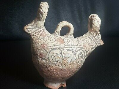 Khurasan slip painted rare two ram headed terracotta rhyton vessel