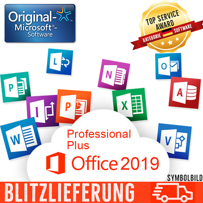Microsoft Office 2019 Pro Professional Plus Vollversion 32/64 Bit Key + Download