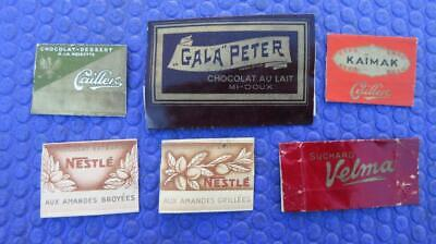 1960's Circa Collection of Small Chocolate Wrappers Nestle' X 2 Cailler X 2 Velm
