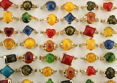 Wholesale Mixed Lots 45pcs New Various Resin Fashion Gold P Lady's Women Rings