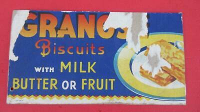 1960's Circa Granos Biscuits with Milk Butter or Fruit Part of a Large Cardboard