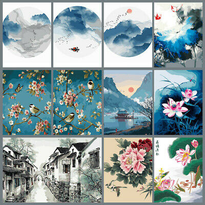 DIY Paint By Number Kit Digital Oil Painting Chinese Ink Style Wall Home Decor