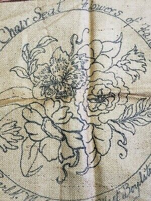 """VTG Rug Hooking Pattern Burlap Pearl Mcgown 1968 OSV Flowers of Holy Land 51/""""x6/"""""""