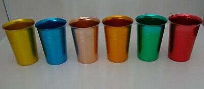 Vintage Retro  Anodized Beakers Cups  set of 6  Cups  Harlequin Anodised