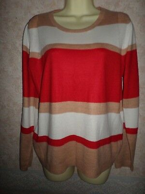 Marks And Spencer Red Cream & Beige Acrylic Jumper Size 12
