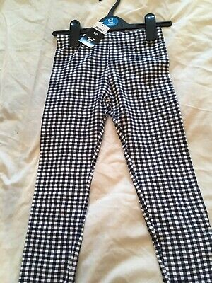 Girls Black White Check New Leggings 6 To 7 Years