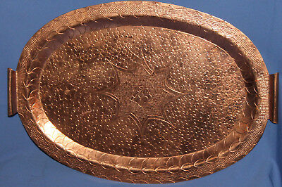 Vintage Hand Made Engraved Copper Serving Tray