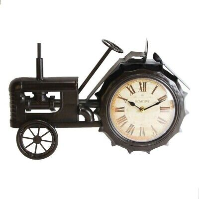 Bnib Metal Mantel Clock/Black Tractor With White Dial