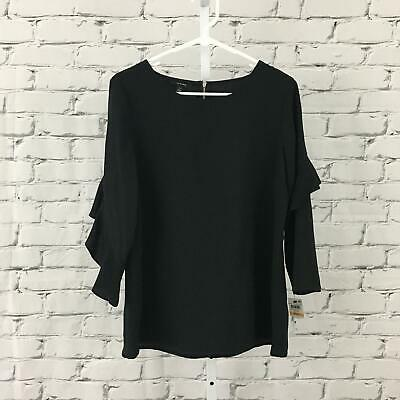 Alfani NEW Women's Size Small Deep Black Ruffle Sleeves Simple Black Blouse NWT