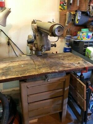"Craftsman 10"" Radial Arm Saw with Table, Tools, Jigs & Cabinet"