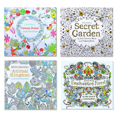 2x Anti-Stress Kids Adult Colour Therapy Drawing Colouring Books + 12 Pencils UK