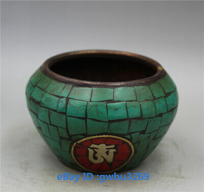 Collection old Chinese  Brass Handwork Inlay Turquoise Pot - Pen wash