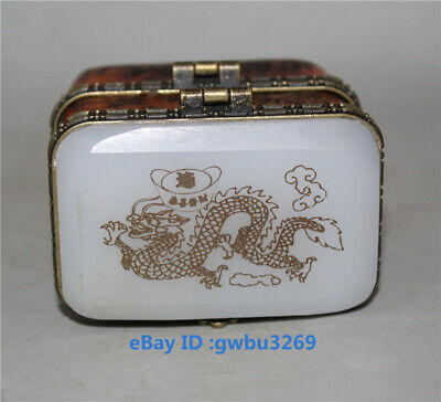 Collection Exquisite Chinese hand-carved Dragon inlaid Jade box
