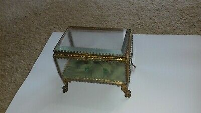 BEAUTIFUL ANTIQUE  19th CENTURY FRENCH ORMOLU BEVELED CRYSTAL GLASS TRINKET BOX
