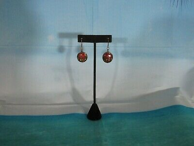 Dark Silver Earrings with a Dangling Bead with Brown & Green Inlaid Beads