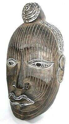 Hand Carved Wooden Mask Native Tribal Mask made in Indonesia Wall Décor Art