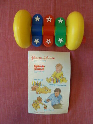 Johnson & Johnson Yellow Rolling Baby Rattle Toy Spin a Sound