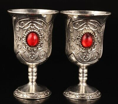 2 Chinese Tibet Silver Jade Hand-Carved Wine Glasses Collection High-End Gift