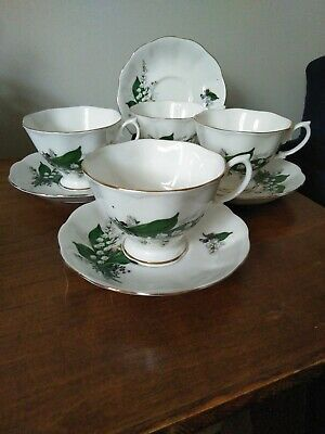 Vintage Bone China Tea Cup Saucer X 4 Lily of the Valley gold detail