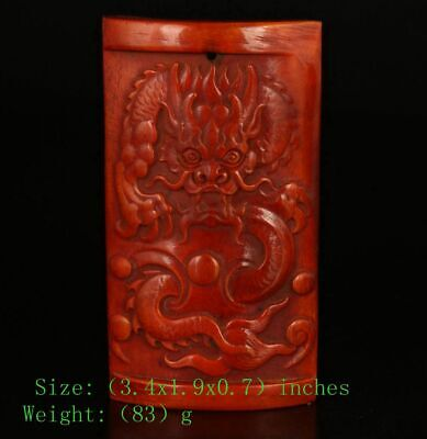 Precious Chinese Cattle B0Ne Pendant Plate Hand-Carved Sacred Dragon Mascot Gift