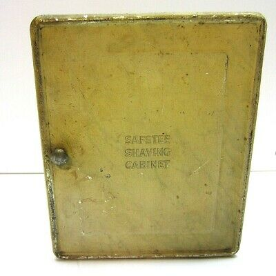 Vtg Old Tin Metal Safetee Shaving Cabinet Mens Vanity Grooming Collectible