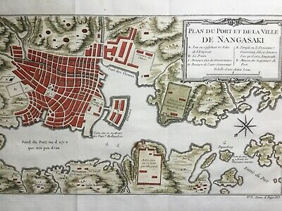 Japan Nagasaki 1754, Canons powder prison Imperial guard, by Bellin antique map