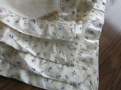 Vintage White Acrylic Butterfly Satin Trim Quiltex Baby Crib Blanket