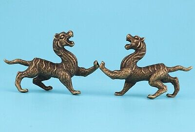2 Rare Chinese Bronze Statue Figurine Solid Kylin Mascot Old Collection Gift