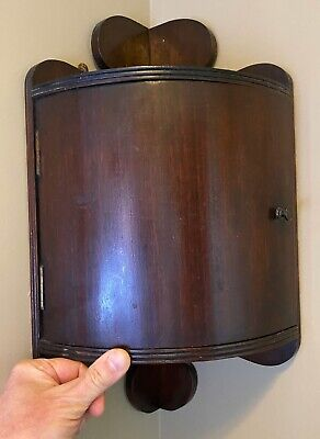 Antique Small Wooden Corner Curved Wall Cabinet