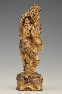 China Wood Statue Hand-Carved Old Mascot God Wealth Gift