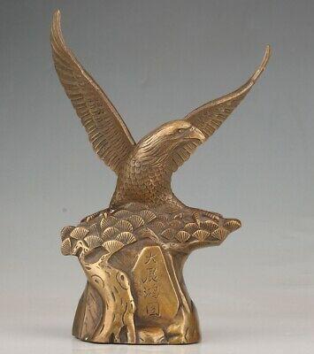 P Big Chinese Bronze Statue Eagle Old Handicraft Collection Gift Decoration