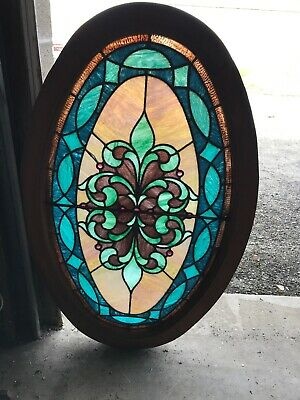 MK 67 Antique Jeweled and Stained Glass Oval Window 25.25 x 40.25