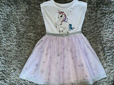Girls Clothes white/lilac dress unicorn motif age 7-8 years