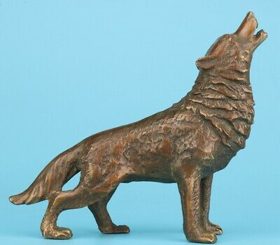 Retro Chinese Bronze Statue Animal Wolf Mascot Home Decoration Collection Gift