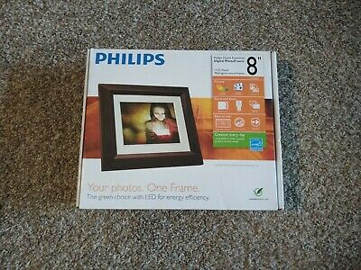 "Philips 8"" Digital Picture Photo Frame Mahogany LCD Panel   HGBin"