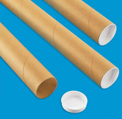 """3 Mailing Tubes with End Caps (2"""" x 24"""") Shipping Poster Artwork Print Packing"""