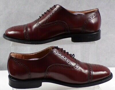 RICHLEIGH Men's Burgundy Oxford Brogue Leather Formal Dress Shoes Size 8.5 VGC