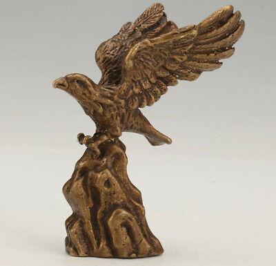 Chinese Bronze Statue Animal Eagle Solid Mascot Collection Gift