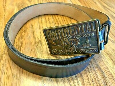 Vintage 1975 Conoco / Continental Oil Company Buckle & Belt - Size 40