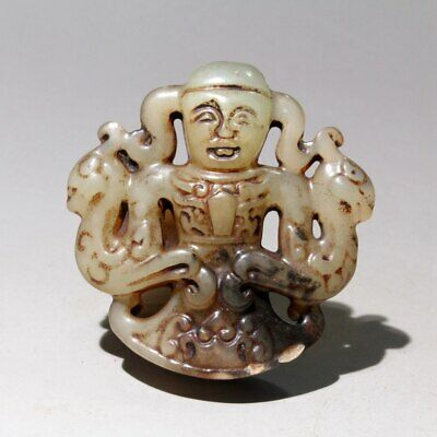 Collectable China Old Jade Hand-Carved Myth Figure Noble Exorcism Amulet Pendant