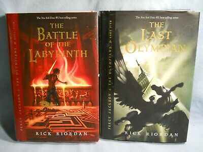 2 Percy Jackson and Olympians HB Rick Riordan Disney Dust Jackets Books 4 & 5